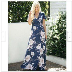 AAKAA Blue Pink Floral Wrap Maxi Long Dress Boho S